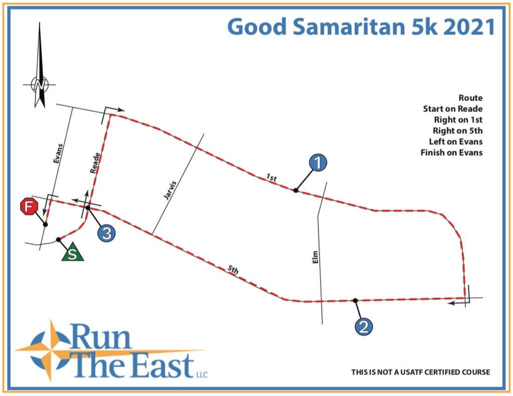 Good Samaritan 5k Course Map 2021